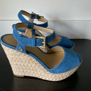 Michael Kors Blue Suede Wedge Sandals